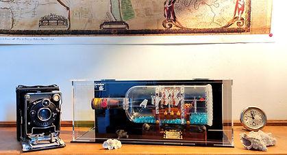 Vitrine Plexiglas BriquesaBoX pour LEGO IDEAS 21313 & 92177 Ship in a bottle