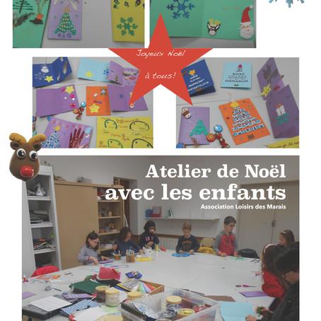 Atelier Cartes de voeux à l'association Loisir des Marais