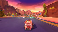 Mobile Game Racing Game Running Rich Racing Track Neon Canyon Flying Monkee POV Shot Game Shot