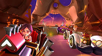 Mobile Game Racing Game Running Rich Racing Track Neon Canyon Cinematic Queen of Hearts and Prince Charming