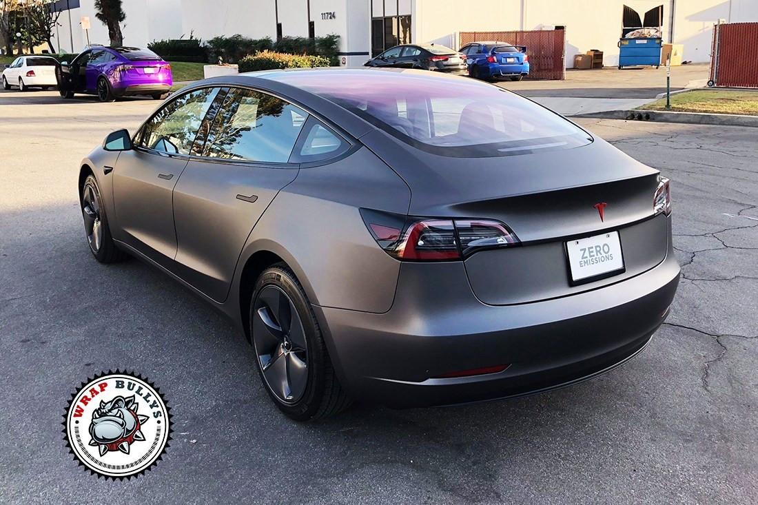 Matte Grey Car >> Matte Grey Tesla Model 3 Car Wrap 5 Jpg