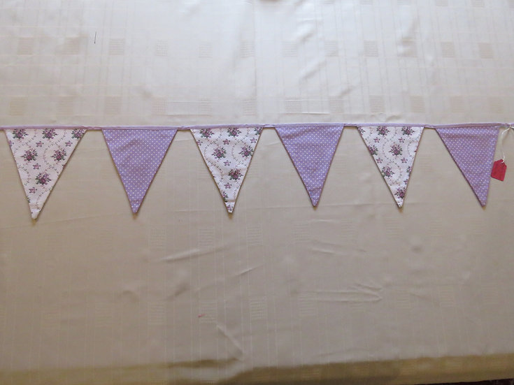 Lilac & floral bunting - 12 flags