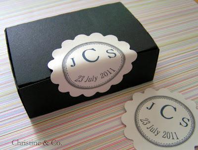 Monogram wedding favor stickers