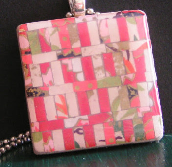 Patchwork pendant with origami paper
