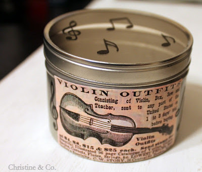Upcycled Tin with a Musical Theme
