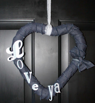 Denim Wrapped Wreath with a Message