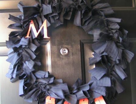 Halloween Wreath from Menswear Fabric