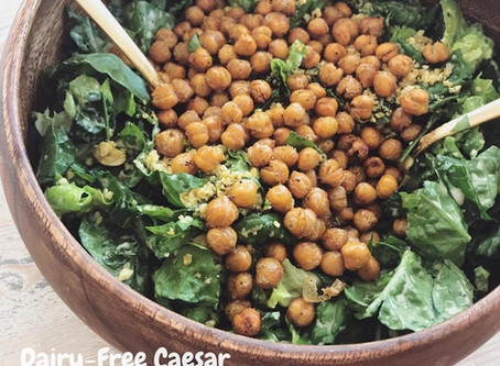 Dairy-Free Caesar Salad with Roasted Chickpea Croutons