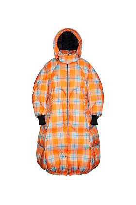 ORANGE CHECKERED MIX BLACK COCOON PUFFER COAT