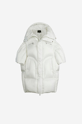 WHITE QUILTED PUFFER JACKET - CP16007028