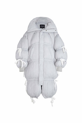 PLEATED GREY BUBBLE GUM DOWN JACKET