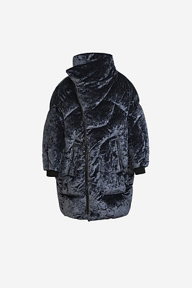 NAVY VELVET DOWN JACKET -CP17003016