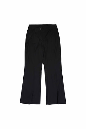 BLACK ASYMMETRIC FLY FLARE TROUSERS