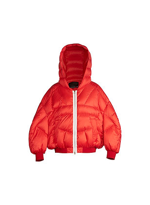 RED DOUBLE LAYER DOWN JACKET