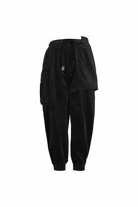 CORDUROY BLACK POCKETS CARGO PANTS