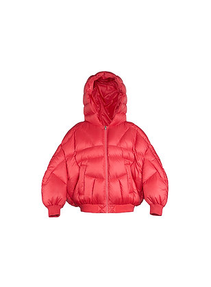 CORAL RED DOUBLE LAYER DOWN JACKET