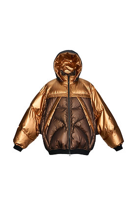 BLACK GOLD BATWING SLEEVE PUFFER JACKET