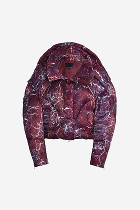 RED MARBLE PUFFER JACKET - CP16001004