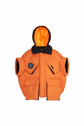 ORANGE MIX BLACK TECHNICAL HALF-SLEEVE DOWN JACKET