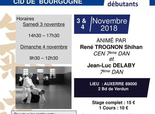 Stage National Seniors débutants à Auxerre le 3 & 4 novembre