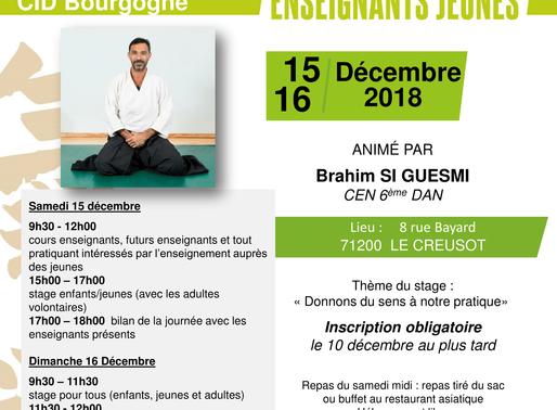 Stage National Enseignants Jeunes à Le Creusot les 15 & 16 décembre