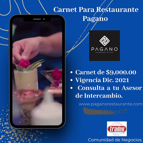 Carnet de consumo para restaurante Pagano