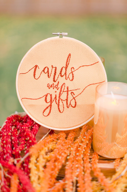 Cards and Gift Cross Stitch Round Wedding Sign