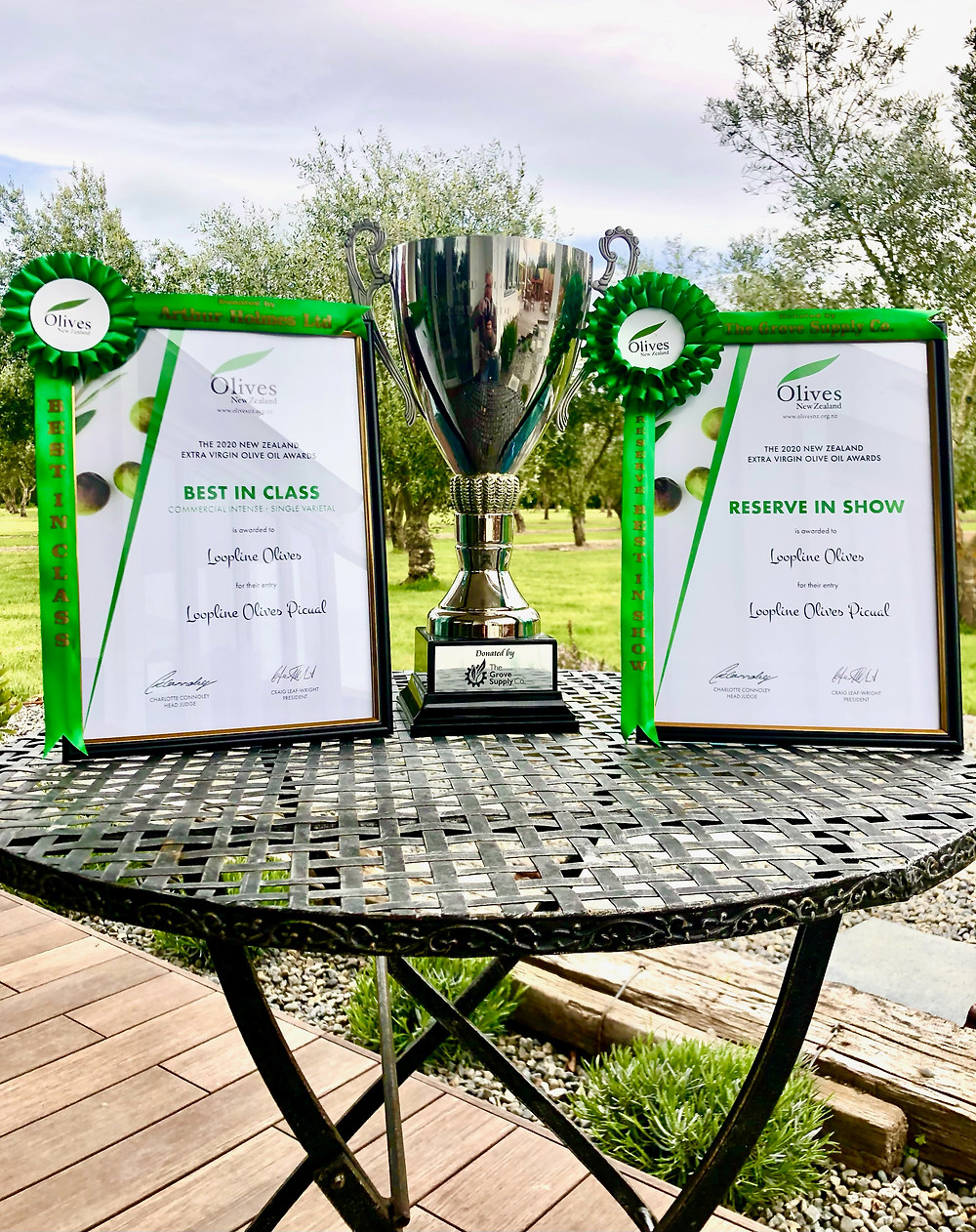 Best in Reserve, best in Class and two Gold Medals 2020 New Zealand Olive Oil Awards certificates and trophy