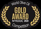 2021 New York Iternational Olive Oil Compertition Gold Medal