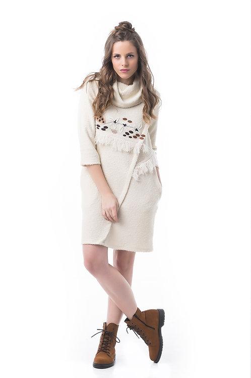 Vestido de manga larga de lana con bordado Mamatayoe