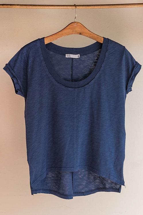 Camiseta de algodón de manga corta con dobladillo y cuello redondo de Fete