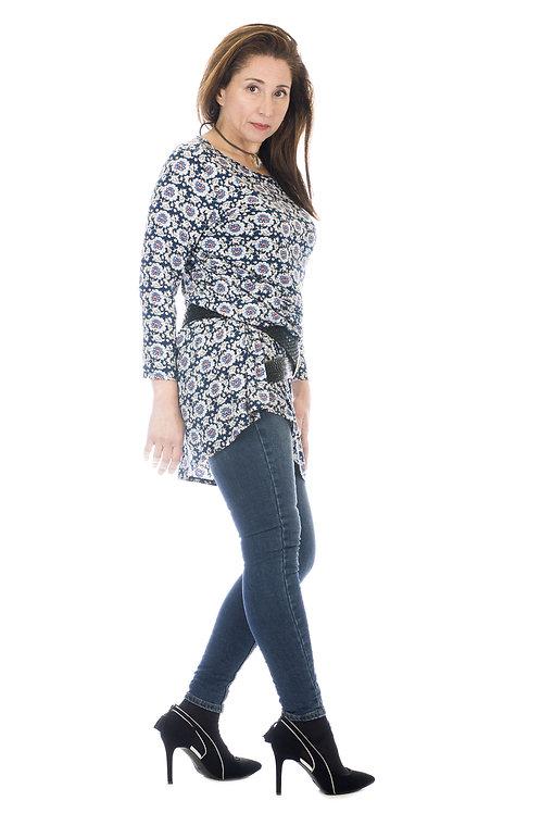 Camiseta/vestido floral con mangas 3/4 Jeicolori.