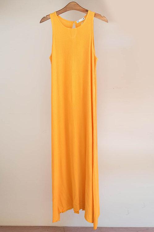 Vestido largo sin manga de cuello redondo con corte en espalda de Fete