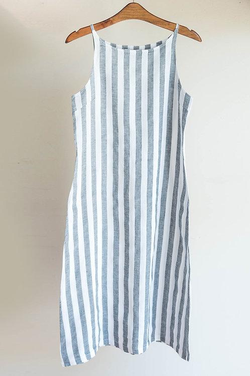 Vestido de rayas de tirantes con bolsillos de algodón de Fete