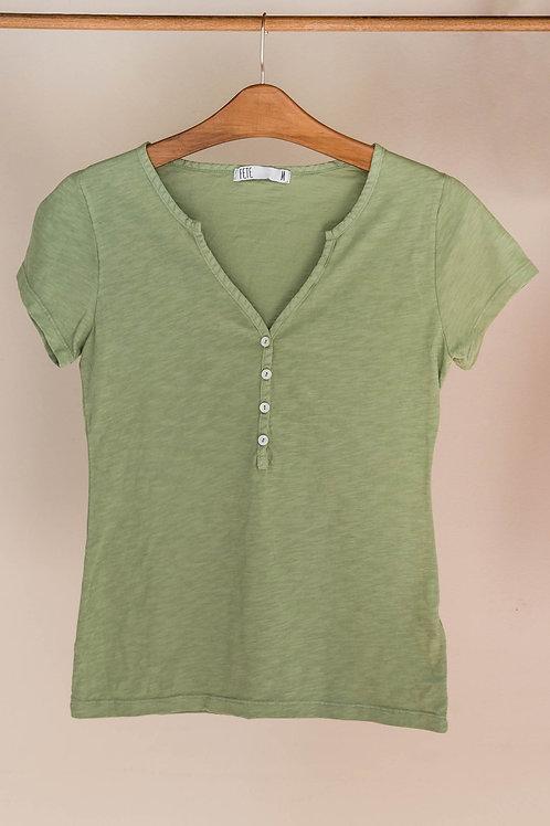 Camiseta de algodón de manga corta con botones y cuello de pico abierto de Fete