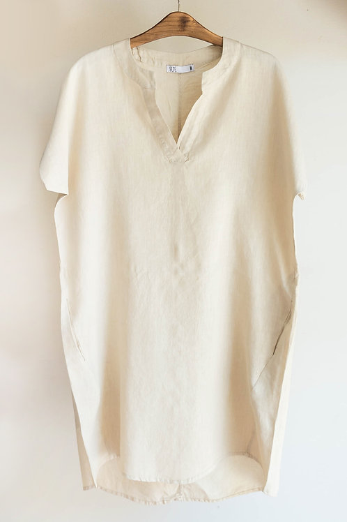 Vestido de lino de manga corta con bolsillos de Fete