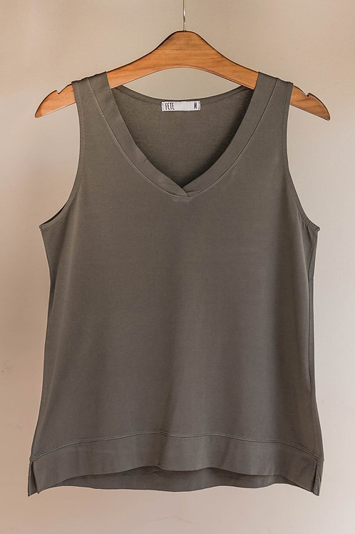 Camiseta sin manga con escote en V de algodón de Fete