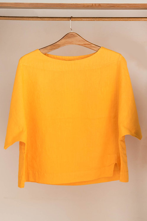 Camiseta ancha de manga corta con cuello redondo de lino de Fete