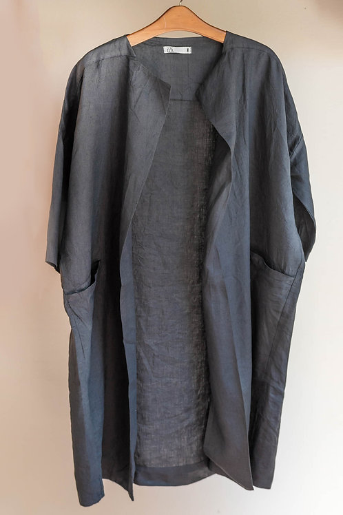 Chaqueta larga y abierta de manga corta con bolsillos de lino Fete