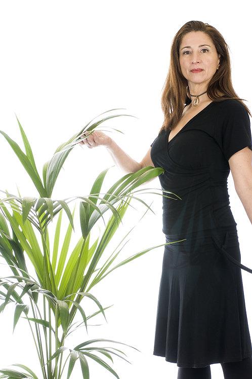 Vestido negro de manga corta Jeicolori.