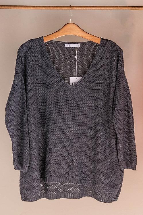 Jersey de punto tricotosa con cuello en V de Fete