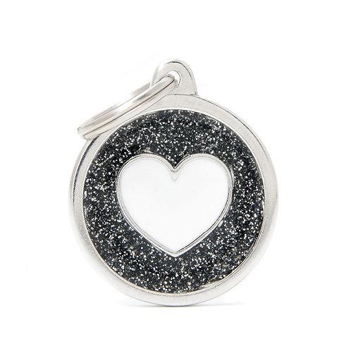Corazón Círculo Shine Negro