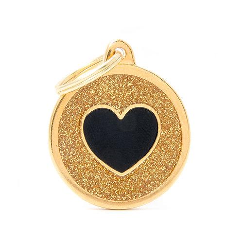Corazón Círculo Shine Dorado