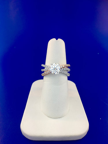 14kt. white and rose gold diamond semi mount