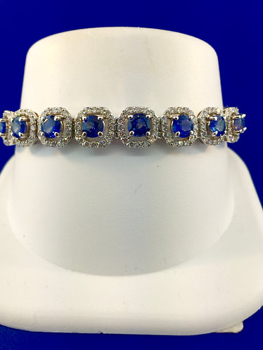 14kt. white gold natural ceylon sapphire diamond  tennis bracelet