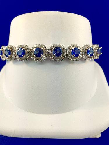 14kt. white gold natural ceylon sapphire diamond  tennis bracelet