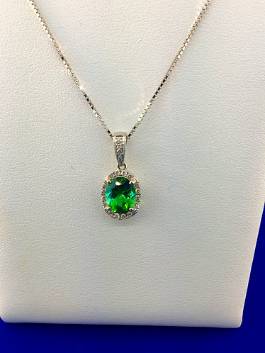 14kt. white gold natural tourmaline and diamond pendant