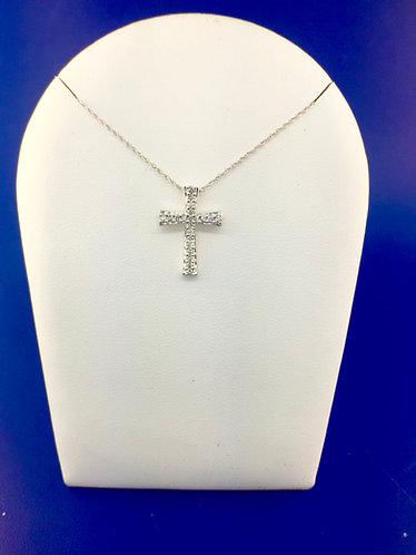 14kt. white gold diamond cross pendant