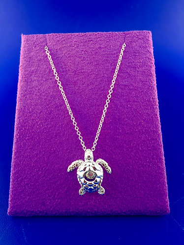 Twinkles Swarovski cut CZ sterling silver turtle pendant