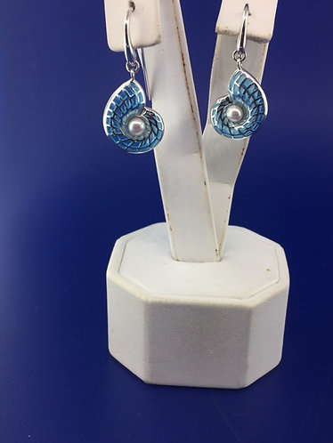 Hand enameled Sterling silver blue nautilus shell earrings